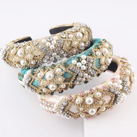 Mode Schwamm Diamanten Perle Mesh Strass Stirnband NHWJ355895's discount tags