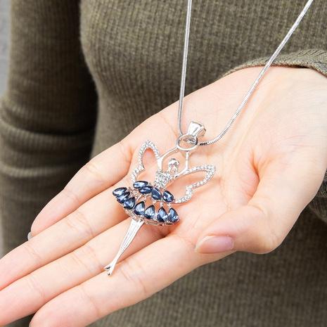 Mode einfache tanzende Ballettanhänger Diamant Halskette NHAKJ355943's discount tags