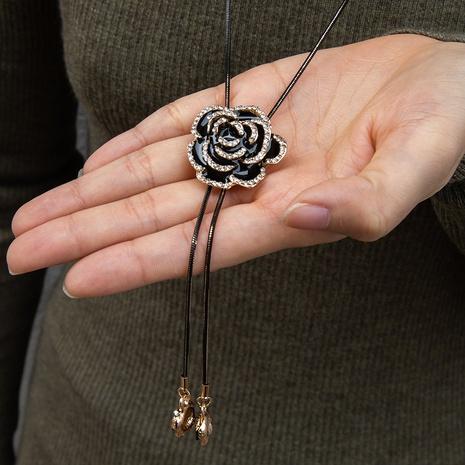 Mode einfache Diamant mehrschichtige Rose Anhänger Halskette NHAKJ355950's discount tags