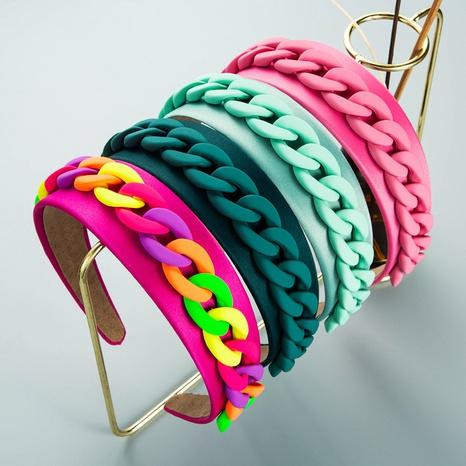neues französisches farbiges Harzkettengewebe einfaches Stirnband mit breiter Krempe NHLN355964's discount tags