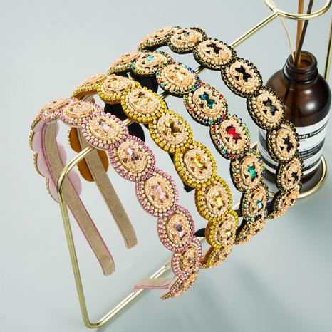 Diamantbesetztes Stirnband mit ovalem Muster aus Korea NHLN355965's discount tags