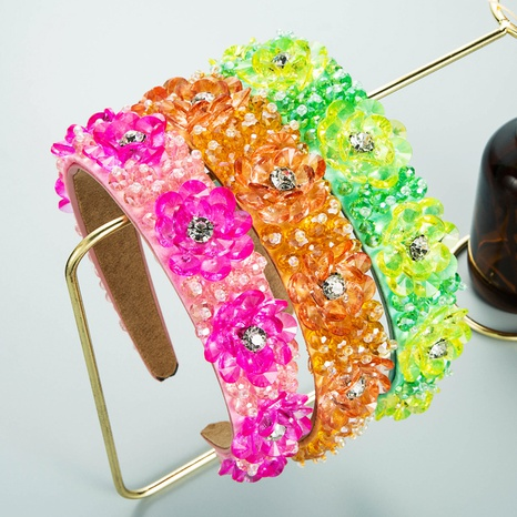 neue Mode Bonbon Farbe transparent Kristallblume Diamant Stirnband NHLN355970's discount tags