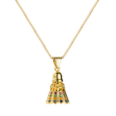 fashion style new pure copper gold-plated inlaid color zircon bell pendant necklace NHLN355971's discount tags