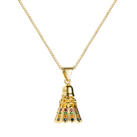 Modestil neue reine Kupfer vergoldete eingelegte Farbe Zirkon Glocke Anhänger Halskette NHLN355971's discount tags