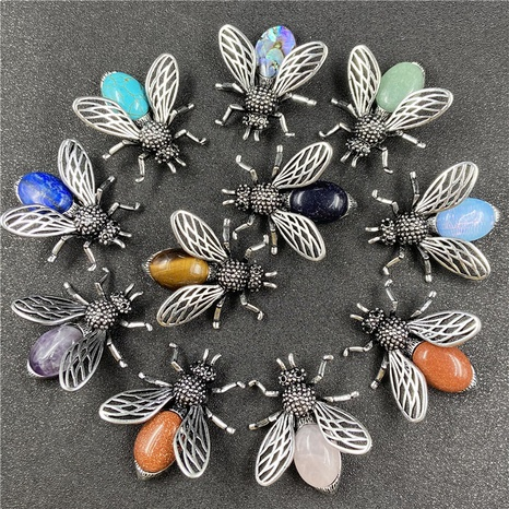 Little bee inlaid gemstone necklace brooch accessories corsage NHJIC356006's discount tags