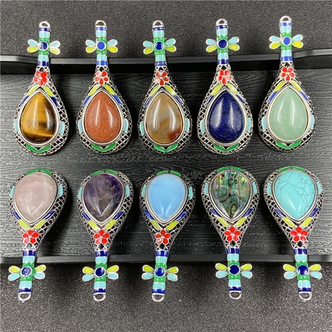Gem Inlaid Pipa Multicolor Pendant Brooch Necklace Accessories NHJIC356010's discount tags