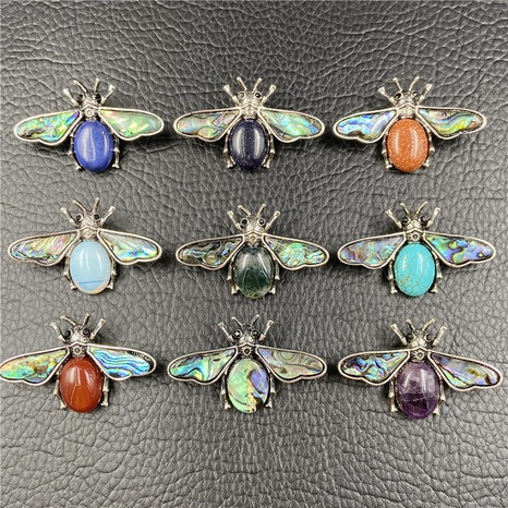 Gem Inlaid Bee Multicolor Pendant Brooch Dual-purpose Necklace Brooch Accessories NHJIC356012's discount tags