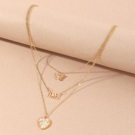 Mode Schmetterling Brief Herz Kombination Anhänger Kinder Halskette NHNU356101's discount tags
