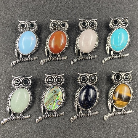 Gem Inlaid Owl Multicolor Pendant Brooch Dual-purpose Necklace Brooch DIY Accessories NHJIC356014's discount tags