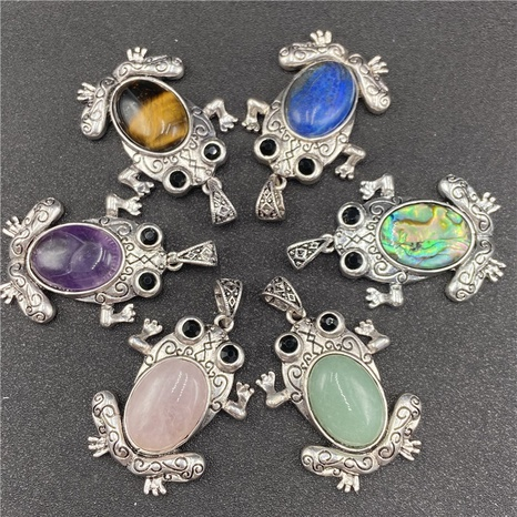 Gem Inlaid Little Frog Multicolor Pendant Brooch Dual-purpose Necklace Brooch Accessories NHJIC356017's discount tags