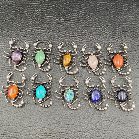 Gem Inlaid Scorpion Multicolor Pendant Dual-purpose Necklace Brooch DIY Accessories NHJIC356019's discount tags