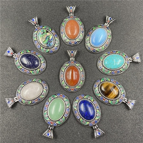 Multicolor semi-precious stone pendant zinc alloy oval cloisonne painting oil craft DIY Accessories NHJIC356020's discount tags