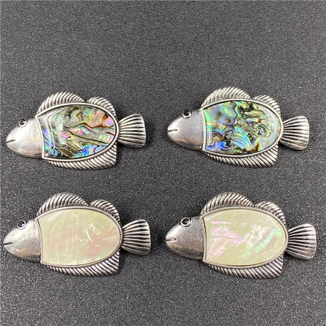 Color shell abalone shell inlaid small fish necklace brooch DIY Accessories NHJIC356021's discount tags
