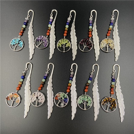 Seven Chakra Tree of Life Bookmark Retro Crystal Jade Feather Bookmarks NHJIC356025's discount tags