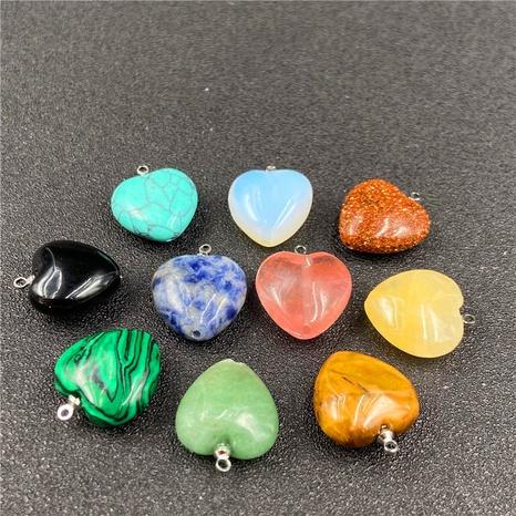 Crystal agate semi-precious stone peach heart multicolor pendant DIY love necklace accessories NHJIC356027's discount tags
