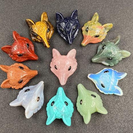 Fox head pendant tiger eye rainbow stone DIY multicolor semi-precious stone powder crystal accessories NHJIC356033's discount tags
