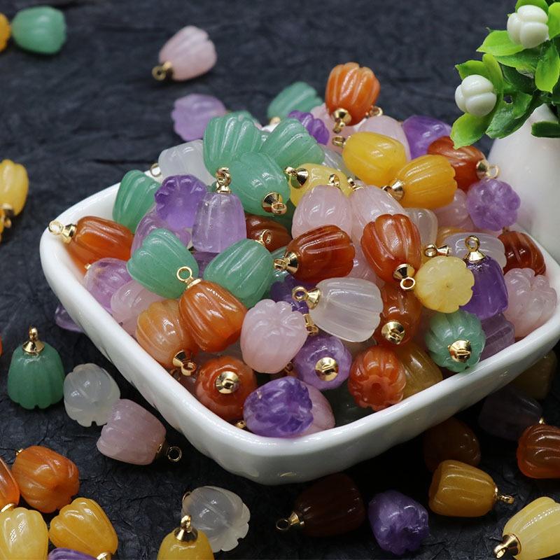 Natural Crystal Agate Jade Carved Pumpkin Flower Pendant DIY Jewelry Accessories Wholesale NHKES356049