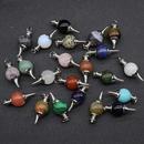 Crystal agate semiprecious stones round bead pendulum pendants Jewelry Accessories NHKES356050