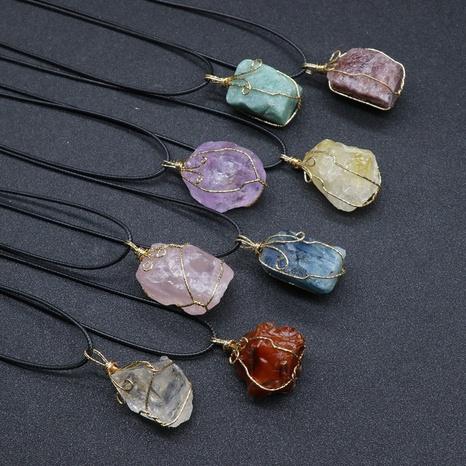Citrine Rough Stone Wrapped Silk Anhänger Amethyst Unregelmäßige Stein Halskette Zubehör NHKES356054's discount tags