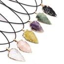 fashion agate obsidian colorful crystal arrow pendant  NHKES356066