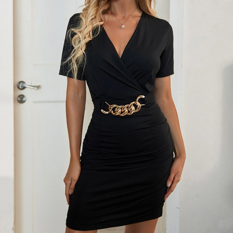 mode nouveau style robe moulante simple chaîne noire NHZN356096's discount tags
