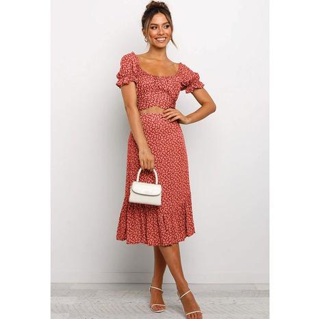 mode imprimé col rond bretelles manches bouffantes tops petit tailleur jupe longue florale NHJG356078's discount tags