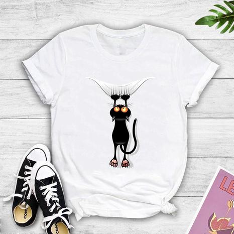 T-shirt décontracté à manches courtes noir à imprimé chat populaire NHZN356076's discount tags