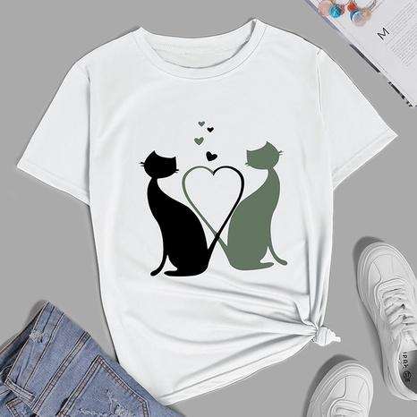 T-shirt décontracté à manches courtes imprimé nouveau chat amour de style de mode créative NHZN356075's discount tags