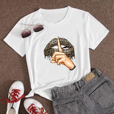 T-shirt décontracté à manches courtes et imprimé léopard à la mode NHZN356072's discount tags