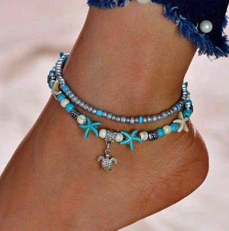 fashion simple turquoise starfish tortoise pendant double layer anklet NHSC356990's discount tags