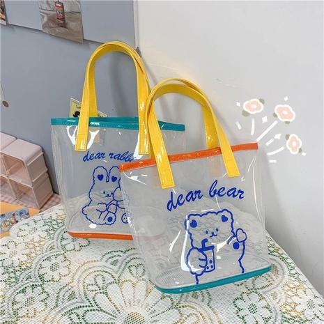 Korean style cute bear printing transparent handbag NHHX356403's discount tags