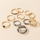new fashion style fivepointed star geometric diamond ring set NHGY356978