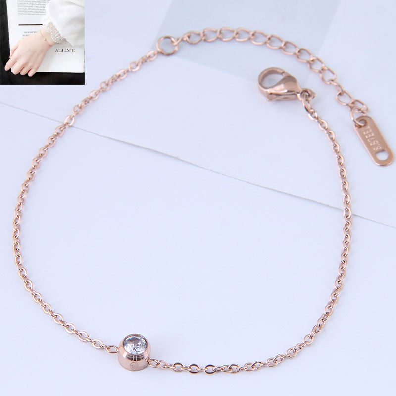 Bracelet en acier titane  zircon simple et simple  la mode corenne OL NHSC356765