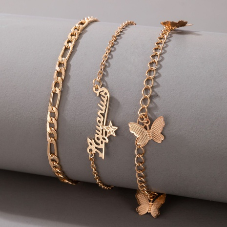 Bohemian letter butterfly alloy anklet 3-piece set NHGY357395's discount tags
