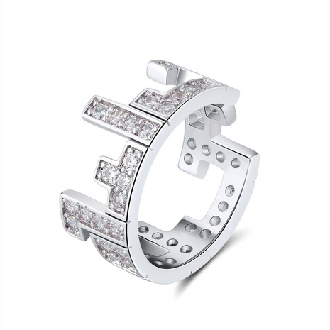 fashion style new copper plated Tetris zircon ring NHKL356499's discount tags