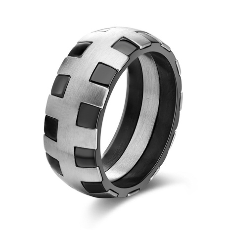 fashion style stainless steel two color smooth ring NHKL356503's discount tags