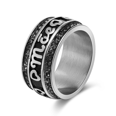 fashion style new stainless steel black stripe ring NHKL356506's discount tags