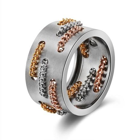 mode nouveau anneau de chaîne en acier inoxydable de style créatif NHKL356509's discount tags