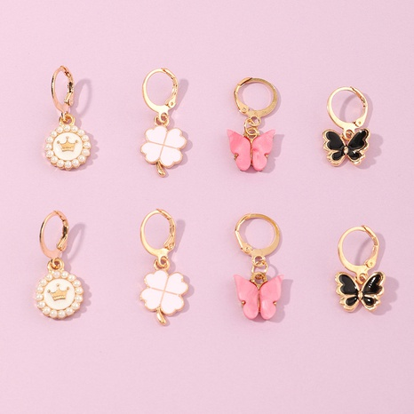 Boucles d'oreilles en alliage pour enfants feuille de papillon goutte d'huile coréenne NHNU356542's discount tags