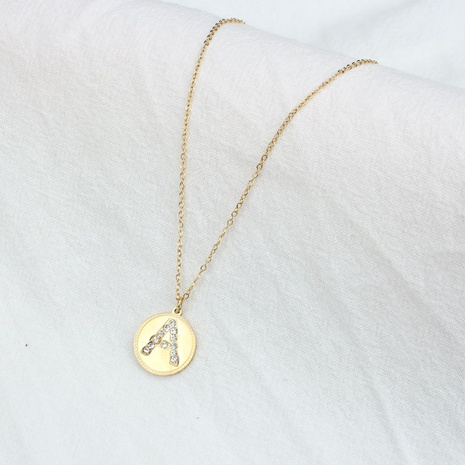 Korean round pendent diamond letter stainless steel necklace NHYUN356547's discount tags