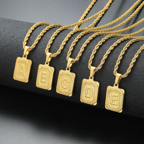 fashion letter square pendant stainless steel necklace NHYUN356553's discount tags