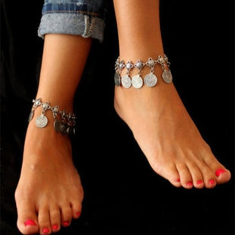 New retro style metal coin tassel anklet foot NHBW356569's discount tags