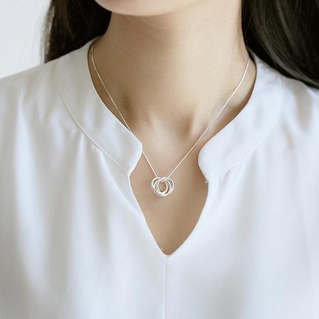 Collier à trois anneaux coréen S925 en argent sterling NHLON356678's discount tags