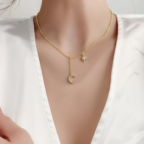 collier en cuivre étoile lune et zircon micro-incrusté simple NHMS356751's discount tags