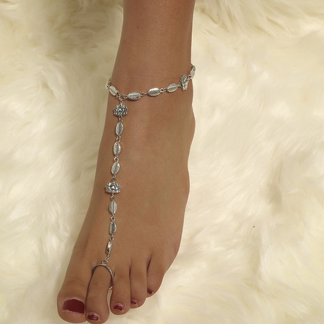 Bohemian national style simple trend retro lotus leaf anklet NHKQ356802's discount tags