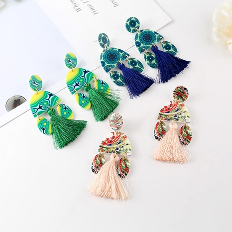 ethnic style simple tassel earrings wholesale NHYAO356818's discount tags