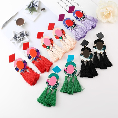 ethnic style geometric painted tassel earrings  NHYAO356823's discount tags