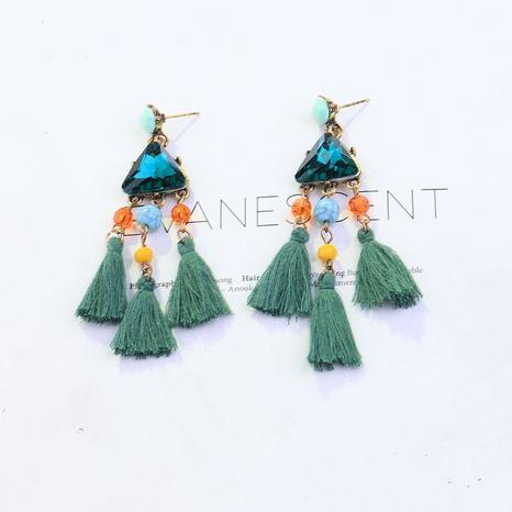 simple fashion beaded diamond tassel earrings NHYAO356832's discount tags