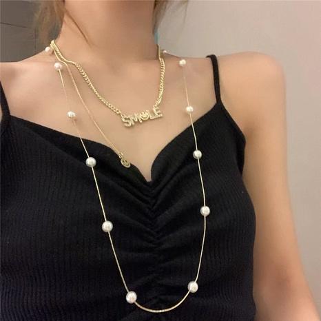 collier de lettres à double épaisseur de perles rétro NHYQ356856's discount tags