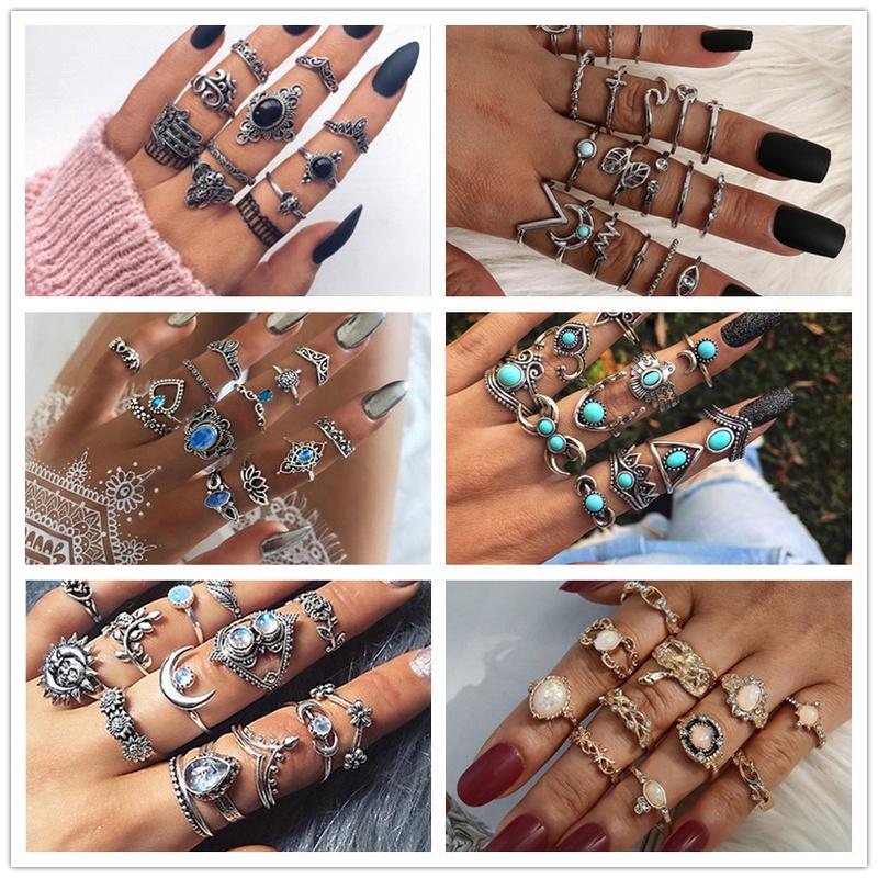 fashion geometric stars feathers turquoise diamond ring set NHMO356861